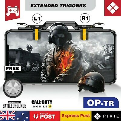 Black Extended Mobile Phone Gaming Shooting Aim Triggers L1R1 for PUBG Fortnite