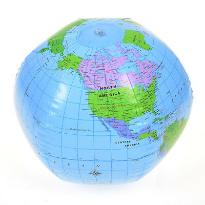 PVC Inflatable Blow Up World Globe 38CM Earth Atlas Ball Map Geography Toy Coach