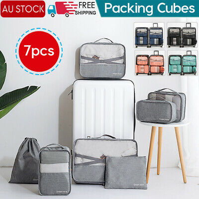 1-7x Packing Cubes Travel Pouches Luggage Organiser Clothes Suitcase Storage Bag