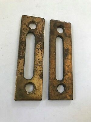2 Brass Plated Steel Arts Craft Victorian Casement Window Door Latch Lock Catch