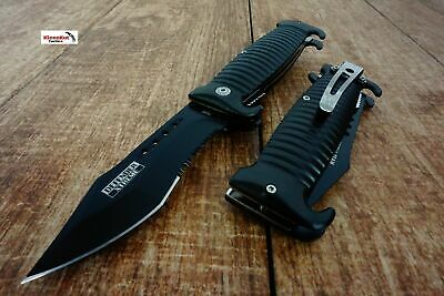 "8.5"" Black Spring Assisted Open SAWBACK BOWIE Pocket Knife Tactical Rescue"
