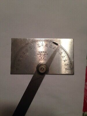 Vintage General Hardware No. 17 Stainless Steel Machinist Measuring Protractor