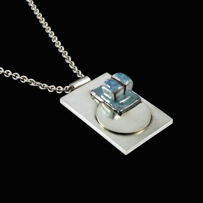 F. Hingelberg. Sterling Silver Pendant with glazed Ceramic.
