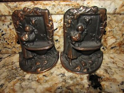 Vintage Heavy Cast Iron Metal Brushed Copper Books Ends Girl Drinking Fountain