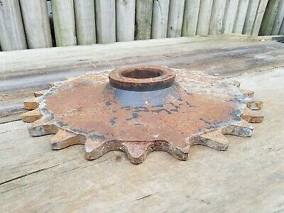 "Huge extra Rusty gear machine part cog steampunk metal art 32 lbs 16 3/8"" across"