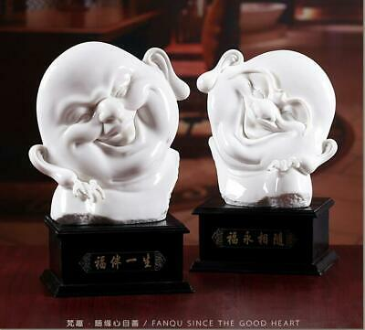Rare Dehua White Porcelain Happy Laugh Maitreya Buddha Face Bat Statue Pair
