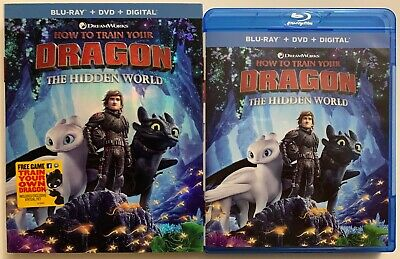 How To Train Your Dragon 3 The Hidden Wolrd Blu Ray Dvd 2 Disc Set + Slipcover