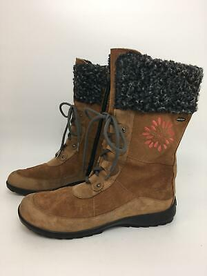 Womens Girls Clarks Tan Brown Leather Gore-Tex Faux Fur Lined Lace Up Boots Uk 3