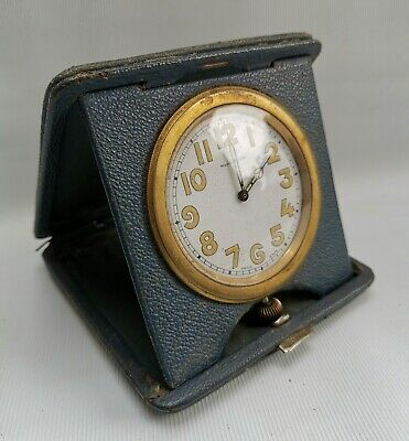 Vtg 1920s Watches Ltd Deco Blue Leather Cased Travel Swiss 8 Day Goliath Clock