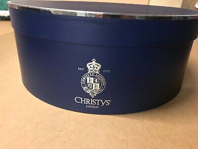 Christys London Large Hat Box Ascot Blue and Silver Round 45cm Diameter
