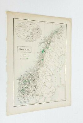 """Rare Vintage Map of Norway by A & C Black Measures 17"""" x 13"""""""