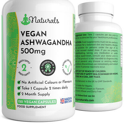 Ashwagandha 1000Mg 120 Capsules Stress Fatigue Anxiety Relief Strong Safe Dose