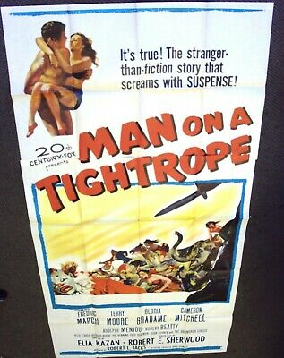 MAN ON A TIGHTROPE Original 3-Sheet Movie Poster FREDRIC MARCH Terry Moore KAZAN