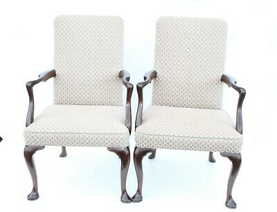 Charming Pair of English Queen Anne Walnut Kittinger Side Arm Chairs Armchairs