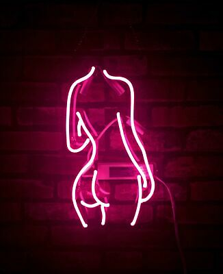 "Pink Lady's Back Neon Sign Bar Wall Custom Room Handmade Gift popularLight14""X8"""
