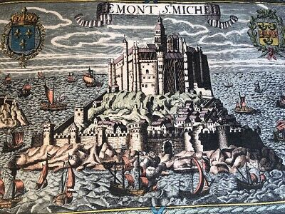"""Le Mont St Michael, Normandy Map from """"Last Days of Monarchy"""", RARE, Remarkable"""
