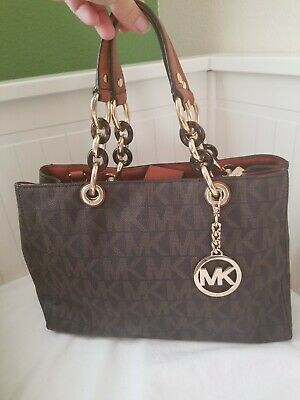 089e955583a759 Michael Kors Handbag Cynthia Medium PVC Signature, leather trim Tote $348.  Brown