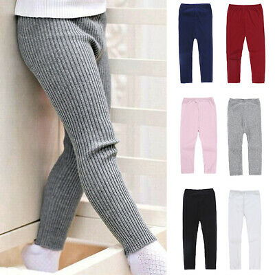 Child Girls Toddler Solid Color Casual Knitting Elastic Leggings Pants Trousers