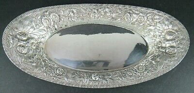 """Vintage Barbour Intl Silver Plate Repousse Bread Tray 12 3/4"""" X 6 3/4"""""""