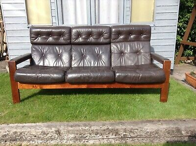 Vintage Danish Scandinavian Sofa Chocolate Brown Leather 3 Seater