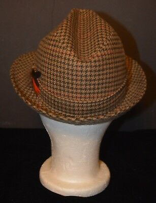 VTG Men's Houndstooth Wool & Cashmere Fedora Hat Great Britain 6 3/4 DUNN & Co.