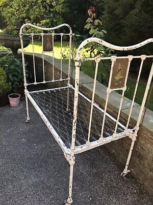 Vintage Antique French or Dutch Metal Childs Bed or Day Bed pretty Plaques