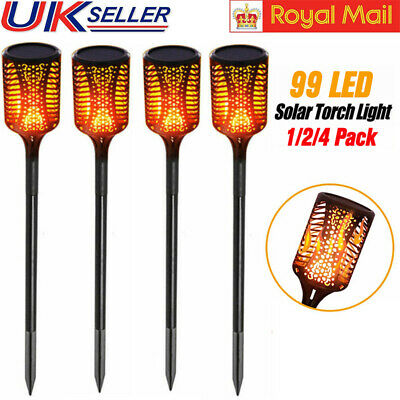 4PCS 99 LED Solar Torch Garden Lights Waterproof Landscape Flickering Flame Lamp