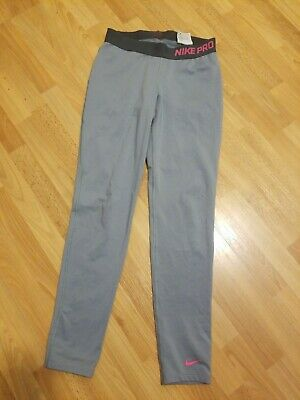 Nike Pro Dri Fit Compression Leggings Girls Youth Large Gray