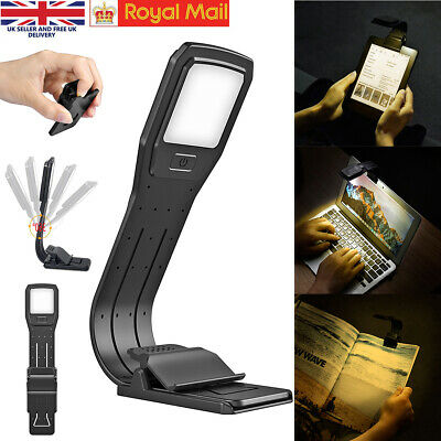 LED Flexible Clip On Book Ipad Kindle Night Reading Light lamp USB Rechargeable