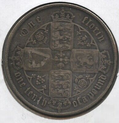 Great Britain 1866 Silver Coin - One Florin - Queen Victoria BC208