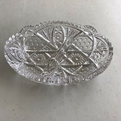 Vintage Oval Cut Glass Heavy Thick Divided Candy Bowl Relish Dish Saw Tooth Edge