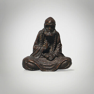Chinese Bronze Praying Buddha Statue Sitting Hand-Carving Figurine Sculpture