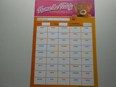 NAME THE TEDDY A3 SIZE SCRATCH CARD-150 SPACES-3 CHANCES TO WIN B/&W 1 CARD