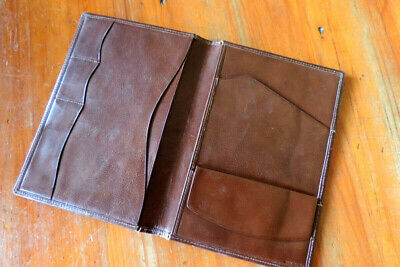 Vintage Italian-made leather wallet or small document holder – mongrammed