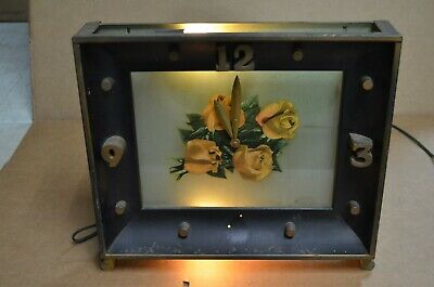 Vintage! Art Deco Lighted Electric Shelf Table Metal Mantle Clock