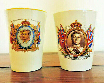 1937 Royal coronation beakers - two kings,  Woods Ivory Ware - Norville Ware