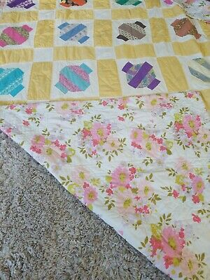 """Lovely Antique Vintage Handmade Hand Sewn Quilt Small Stains 66"""" X 88"""""""