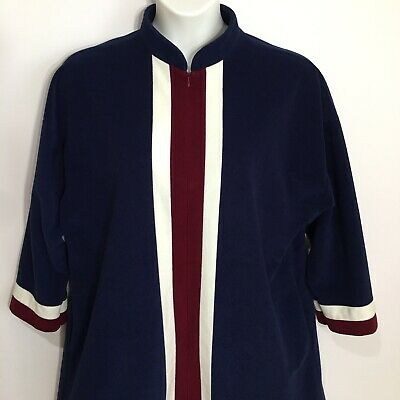 b0c8885c524 Vtg Vanity Fair Velour Housecoat Robe Size L Navy Blue Burgundy White 3 4  Zip