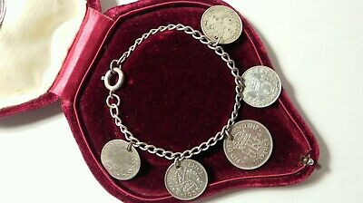 Stunning Antique Art Deco 3d Coin Silver Bracelet