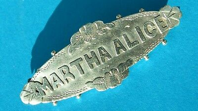 Antique Victorian Solid Silver Rare DOUBLE MARTHA ALICE Name Brooch Chester 1896