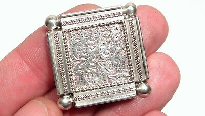 Stunning Antique Victorian Silver & Hand Engraved Locket Section Brooch
