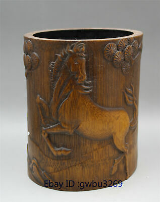 Chinese Bamboo Pen holder Carved Hand Carved Old man & Horse Brush Pot
