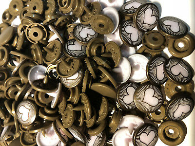KAM Snaps Size 20 T5 Vintage Heart Press Stud Button Scrapbooking Sewing 50 Sets