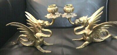 Pair Of Antique Brass Dragon Chamber Throne Candle Sticks Winged Griffin Game