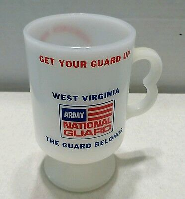 Milk Glass (vintage) Coffee cup West Virginia , Army National Guard logo, USA