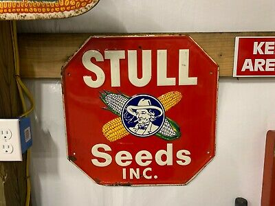 RARE Scarce RED Octagon Stull Seeds Sign Colonel GAS OIL SODA COLA