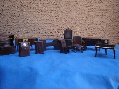 11 pc Vintage Renwal Plastic Miniatures Dollhouse Furniture Brown made USA