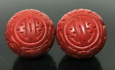 Vtg Chinese 2pc Carved Cinnabar Lacquer Boading Balls