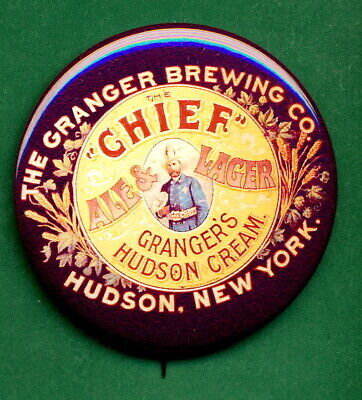 """Granger Brewing STYLE Hudson New York """"Chief"""" Beer Tray Ad RP *PIN*  Cream"""