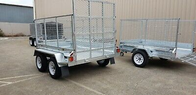 8x5 trailer with ramp GALVANISED BOX TANDEM CAGE TRAILERS